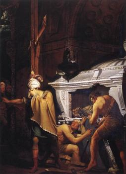 Joseph Wright Of Derby : Miravan Opening the Grave of his Forefathers